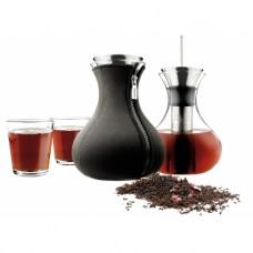 Заварочный чайник в неопереновом чехле 1 л чёрный и 2 стакана
