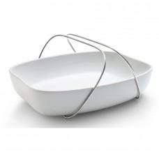 Блюдо керамическое с ручками большое белое