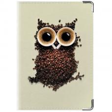 Обложка для паспорта Кофейная Сова с глазами-блюдцами