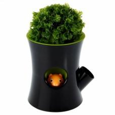 Горшок самополивающийся Log&Squirrel черный/зеленый